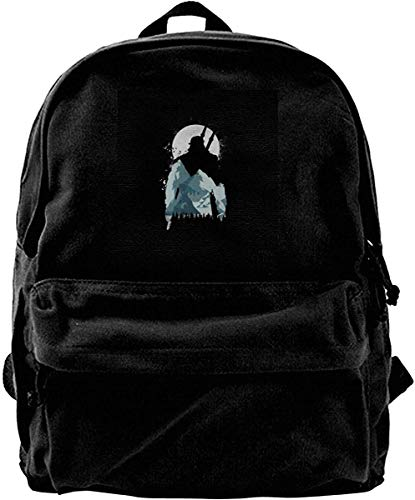 Homebe Canvas Backpack Wild Wonder Witcher Mountain Moon Silhouette Rucksack Gym Hiking Laptop Shoulder Bag Daypack for Men Women