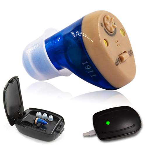 Rechargeable Hearing Amplifier to Aid and Assist Hearing | Digital ITE CIC Sound Amplifier for Seniors and Adults | Fit Either Ear - C100