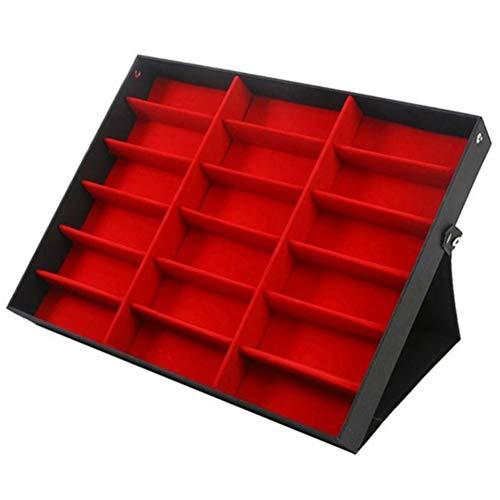 Oyria 18 Grids PU Leder Brillenglas Display Aufbewahrungskoffer Klappdeckel Sonnenbrille Box Organizer Halter, Rot