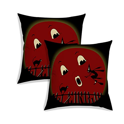 RADANYA Halloween Pattern Pillow Case Cushion Covers Pillowcase for Sofa Living Room Seat Decoration-Red-24X24 Set of 2