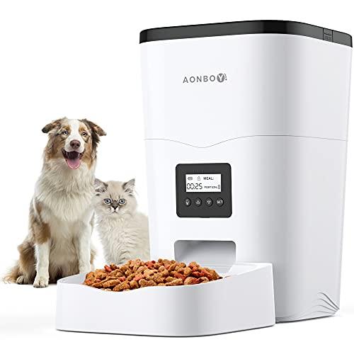 AONBOY Distributore Cibo Gatti, Automatica Dispenser Crocchette Gatti, Coperchio Scorrevole, 1-4 Pasti al Giorno, Registrazione Vocale 10S, Adatta per Animali di Piccola e Media Taglia