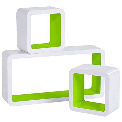 WOLTU Estantería de Pared Estantería Cubo Conjunto de 3 Estante Retro Colgantes CD Libreria Decorativo Baldas Flotante Pared Verde/Blanco RG9229gn