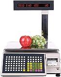 Bonvoisin Báscula Con Ticket Industrial Balanza de Impresión de Códigos y Barras Digitales, con 56 Teclas de Acceso Directo, Pantalla LED, para Supermercados / Tiendas Minoristas / Almacenes (30kg)