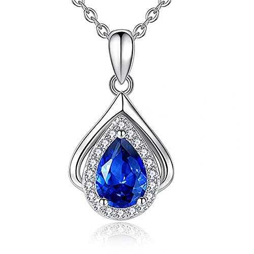 N/A Collar Mujer Azul Cristal Corazón Colgante Regalo para Ella