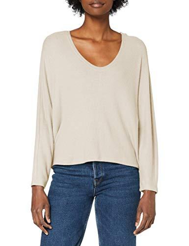ONLY Damen ONLINGRID 3/4 TOP JRS Sweatshirt, Oatmeal, L