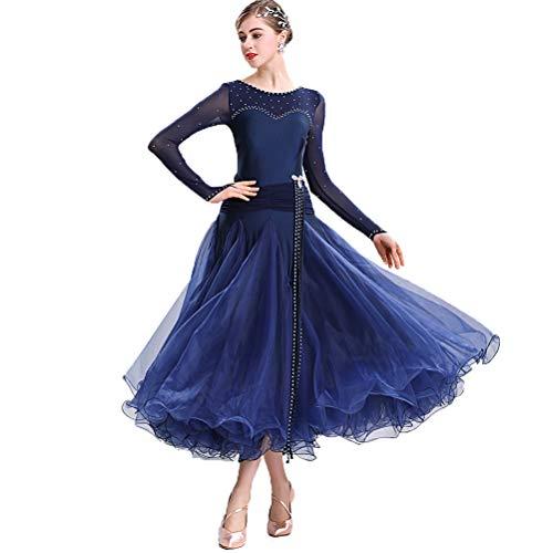 Moli Klassisch Einfach Frauen Ballsaal-Tanzkleid Damen National Standard Tanzwettbewerb Kleid Lyrisch Walzer Tango Performance Kostüm Big Swing Tüllrock,Navy,S