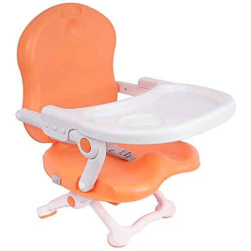 Todeco - Asiento elevador para bebé, Silla portátil para alimentación de bebés - Alto: 38/42/46/50 cm - Material: PP - Naranja