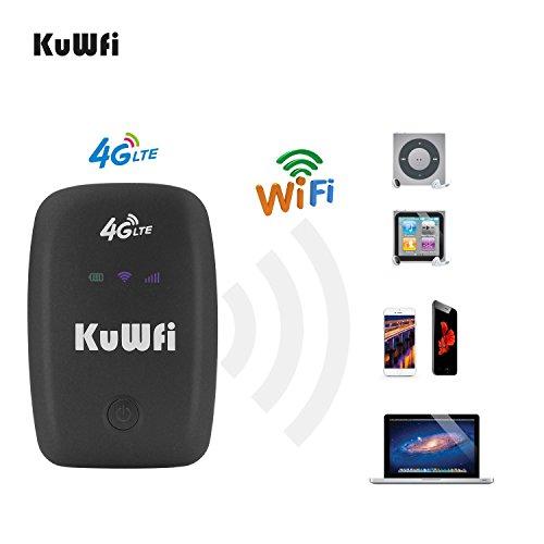 KuWFi mobiele wifi-router, vrijstaande reispartner 150 Mbps 4G LTE router met SIM-kaartsleuf ondersteuning LTE FDD B1 / B3 / B5 ondersteuning werken met E-Plus/T-Mobile SIM kaart
