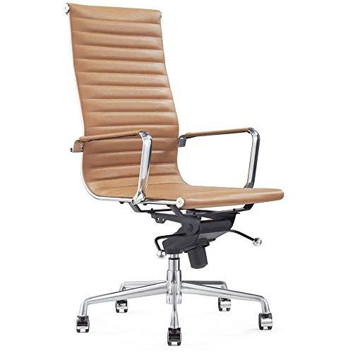 Vivol Madrid Schreibtisch Stuhl Echt Leder Cognac | Design Bürostuhl Ergonomisch | 100% Leder Bürostuhl 120 kg | Drehstuhl mit Rollen und Armlehnen