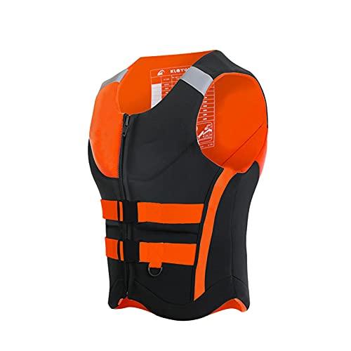 Chaleco Salvavidas de NatacióN Chaqueta Life Jacket para Adulto con Reflector AlgodóN de Flotabilidad con Agujeros HidrofóBicos para Surfear,Orange,L