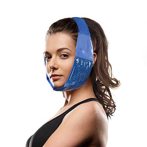 Hot Cold Jaw and Forehead Ice Pack by FOMI Care   Flexible Gel Bead Wrap for TMJ, Wisdom Teeth, Oral and Facial Surgery, Dental Implants, Migraine, Headache, Chin and Tooth Pain   Adjustable, Reusable