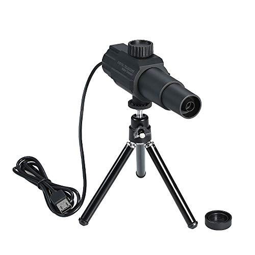 Telescopio digital USB monocular movil con trípode ajustable,Roeam Telescopio de fotografía Ampliación de zoom Cámara Conectable Teléfono móvil/computadora 2MP 70X con CD