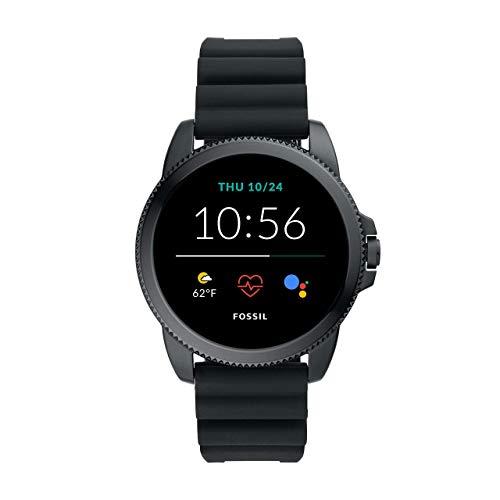 Fossil Connected Smartwatch Gen 5E para Hombre con tecnología Wear OS de Google, frecuencia cardíaca, GPS, NFC y notificaciones smartwatch, Silicona Negro