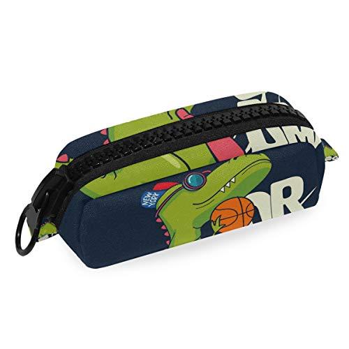 Cool Kid Dream Team - Estuche de lona para lápices con diseño de dinosaurio para jugar al baloncesto, escuela, con cremallera, bolsa de gran capacidad para maquillaje, cosméticos, oficina, bolsa de viaje