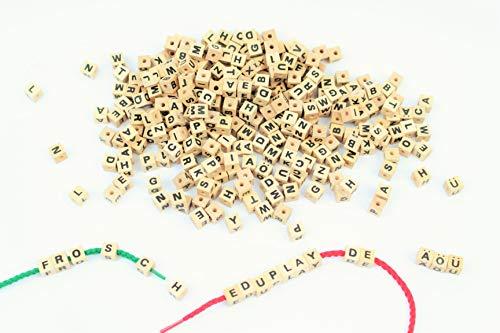 EDUPLAY Holz-Buchstabenwürfel Zum Fädeln, 300 Stück