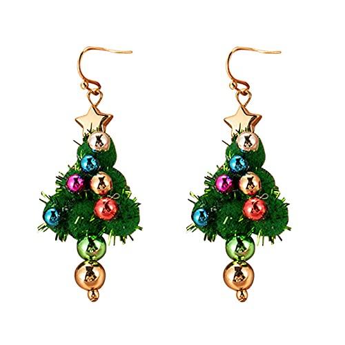 DFDLNL Pendientes Aros Serie navideña Pendiente Rojo Verde Copo de Nieve Recubrimiento de Gotas para el oído Colgante Colorido 03