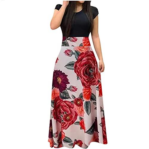 Damen Elegantes Maxikleid Knöchellanges enges Kleid mit Boho-Blumendruck Casual Kurzarm O-Ausschnitt High Waist Patchwork Skaterkleid Party Kleid Abendkleid Ballkleid