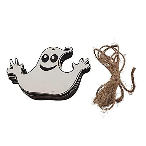 Lazos de madera de Halloween para colgar, amuletos de Halloween, caramelos, calabaza, fantasma, araña, bat, colgante, decoración de Halloween, para casa