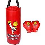 XHLLX Set de Boxeo Bolsa para niños con Guantes de Boxeo y una Bolsa de perforación, punzonado de Arena de Arena roja/Azul/Negro