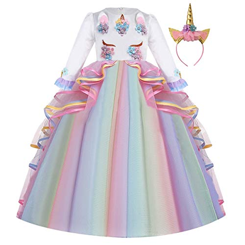 FMYFWY Niña Vestido de Unicornio Princesa Cumpleaños Manga Larga Disfraz de Carnaval Halloween Navidad Fiesta de Cosplay para Chicas Bautizo Comunión Boda Velada Ropa con Diadema Arcoiris 8-9