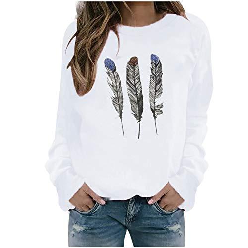 Xmiral Sweatshirt Pullover Damen Langarm Rundhals Gedruckt Lässiger Blusen Oberteile Herbst Winter Lose Warmes Bottoming Shirt(d-Weiß,M)