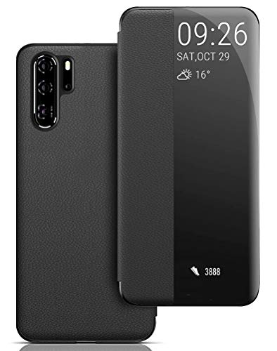Custodia Huawei P30 PRO, View Window Smart Cover Ultra Sottile Huawei P30 PRO Flip Case Auto Svegliati/Sonno Protettiva Cover per Huawei P30 PRO - Nero
