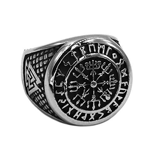 BAVAHA Wolf Arrow Ring Celtic Knot Stainless Steel Nordic Rune Odin Symbol Amulet Biker Men Ring (Style 1 - Prime, 13)