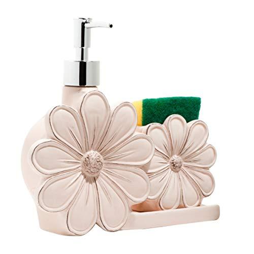 BARONI Dosatore Sapone Dispencer in Ceramica Bianca Fiore con Porta Spugna 22X6X20 cm