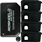 Roshield 5 Mouse Black Bait Boxes - Holds Mice Bait Safely Away from Children & Pets (Empty - No Bait...