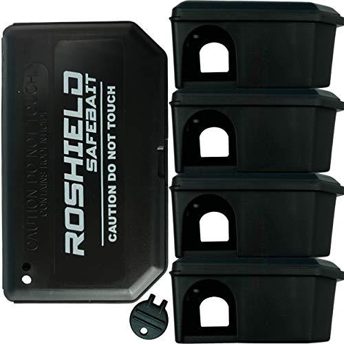 Roshield 5 scatole del Mouse Esche Nere per Il Controllo Topi (Vuoto, Senza Esca Inclusi)