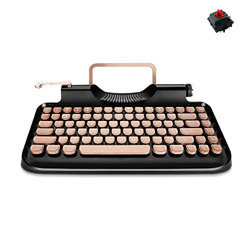ldy Teclado Máquina de Escribir Retro,USB Bluetooth Inalámbrico de Doble Modo de Teclado Mecánico 83 Key Cherry Axis con Luz de Fondo Dinámica Ajustable para Windows Android iOS MacOSgold-Red Shaft
