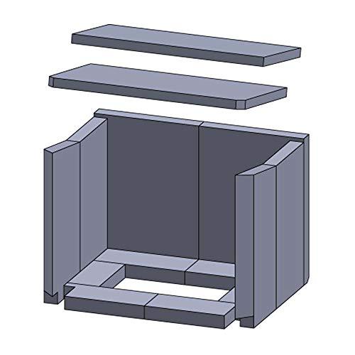 Kaminofen Schamotte/Vermiculite passend für Haas und Sohn Riga 150.17, Stockholm 152.17 - Set 14-teilig Feuerraumauskleidung
