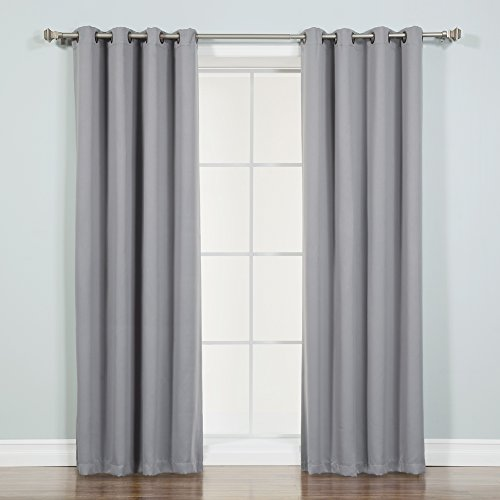 """Best Home Fashion Thermal Insulated Blackout Curtains - Antique Bronze Grommet Top - Grey - 52"""" W x 72"""" L -No tie Backs (Set of 2 Panels)"""
