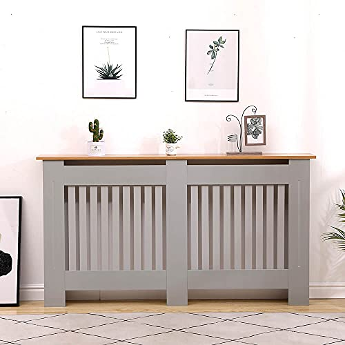 Home Source Oak Top Radiator Cover Wooden Wall Cabinet Shelf Slatted Grill, Grey, Large