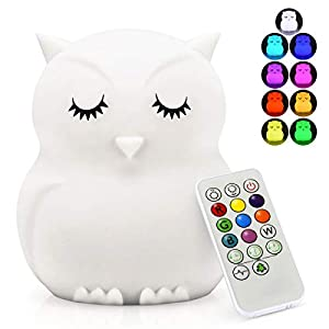 LED Nursery Night Lights for Kids -USB Rechargeable Animal Silicone Lamps with Touch Sensor and Remote Control -Portable Color Changing Glow Soft Cute Baby Infant Toddler Gift (Owl)