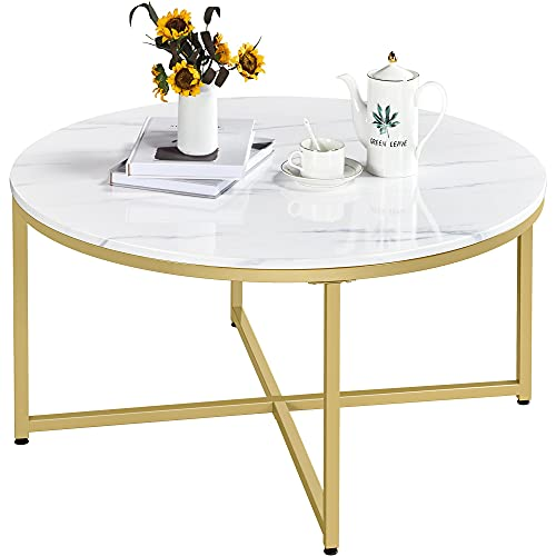 Yaheetech Modern Round Coffee Table, Faux Marble Accent Table Cocktail Table w/X-Base & Sturdy Metal Legs & Protective Foot Pads for Living Room, Mustard Gold