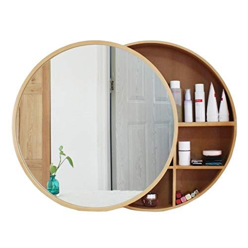Mirror Cabinets Spiegelschrank Runden Badezimmerspiegel Wandspiegel Hängeschrank mit Ablage Schminkschrank aus Holz, fürs Bad, Schlafzimmer, Wohnzimmerdekoration (Color : Wood Color, Size : 50cm)