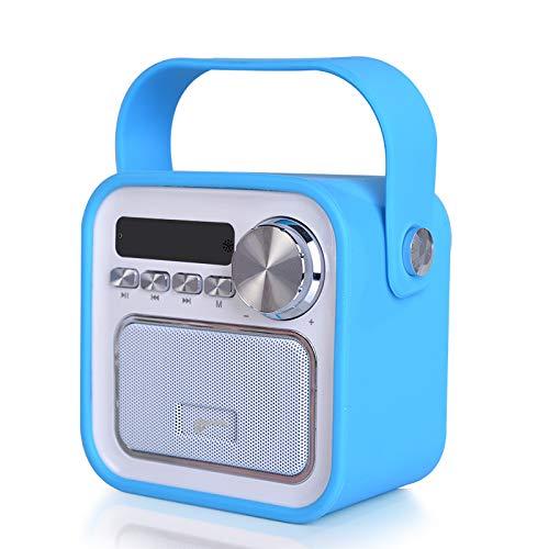 Easy valyou Mini Bluetooth Lautsprecher mit Radio FM in Blau Aux USB Anschluss Fernbedienung Uhrzeit Badezimmer Küchenradio Badradio Kinderradio tragbar 5W Klinke klein Retro Musikbox Werkstattradio