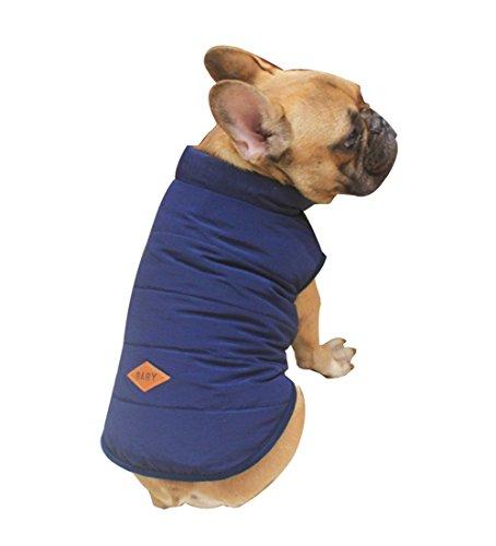 Rantow Chien Polaire Confortable Polaire doublée Veste Manteau Chiot Boutons d'hiver Chaud Gilet Costume vêtements pour Chihuahua Corgi Bulldog (S, Navy Blue)