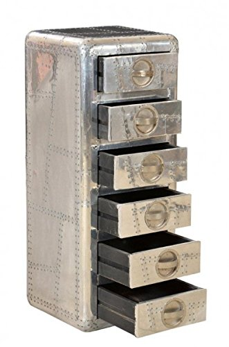 Casa Padrino Designer Aluminium Kommode mit 6 Schubladen 40 x 40 x 100 - Art Deco Vintage Flieger Möbel