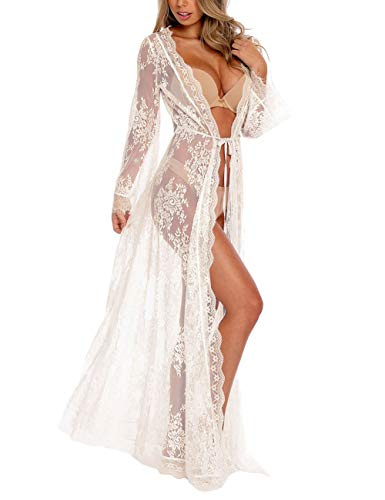 Bsubseach Weiße Spitze Langarm Kimono Strickjacke Badeanzug Cover Up Für Damen Bikini Bademode Strandkleid