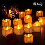 Velas LED, laxikoo 12Pcs Velas de Té LED, Vela Luz parpadeo con Pilas Sin Llama Perfectas para Bodas, Cumpleaños, Fiestas, Navidad, Festivales, Restaurante, Decoración (Amarillo)
