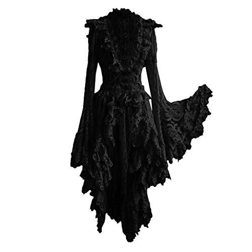 LoveLeiter Damen Schwarz Korsagen Gothic Taille Lang Bluse Mini Korsett kurz Party Steampunk Langarm Mittelalter Unregelmäßig Kleid Gothic Retro Kleid Renaissance Cosplay Kostüm Maxikleid (Schwarz, M)