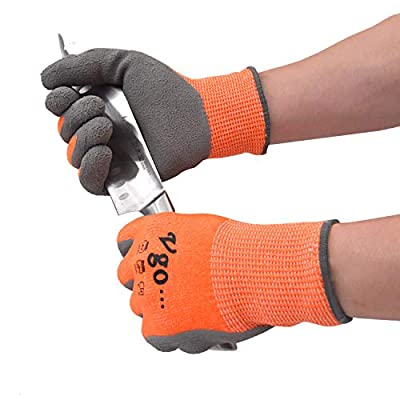 Vgo 10Pairs ANSI Level 3 Cut Resistant Gloves Certified Hand Protection, Latex Rubber Coated Gardening and Work Gloves(Size L,Orange,RB2148HY)