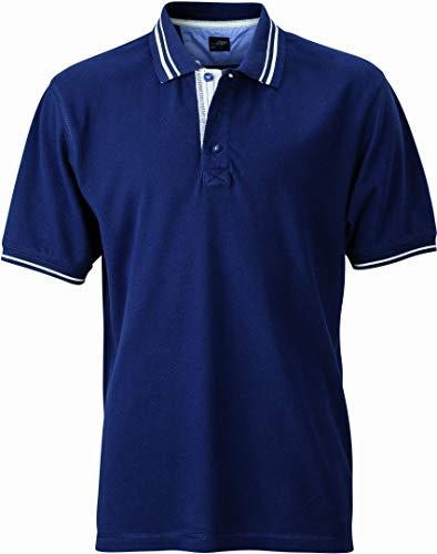 James & Nicholson Herren Poloshirt Poloshirt Men's Lifestyle blau (navy/off-white) XX-Large
