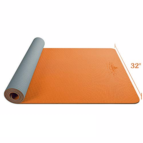 """Hatha Yoga Large TPE Yoga Mat - 72""""x 32"""" x 1/4 inch -Eco Friendly SGS Certified -Non Slip Bolster with Carrying Bag for Home Gym, Pilates & Floor Outdoor Exercises (Orange/Grey)"""