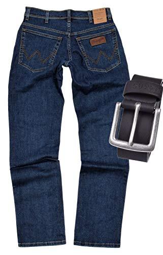 Wrangler TEXAS STRETCH Herren Jeans Regular Fit inkl. Gürtel (W44/L36, Darkstone)