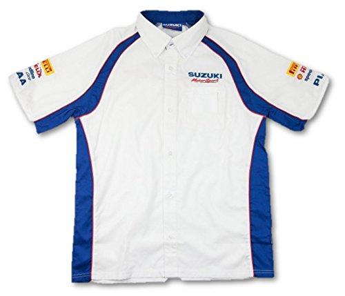 Herren-Hemd Suzuki Motorsport Team Sponsor, kurzärmelig, Renn-Shirt, weiß/blau, Herren, weiß, S