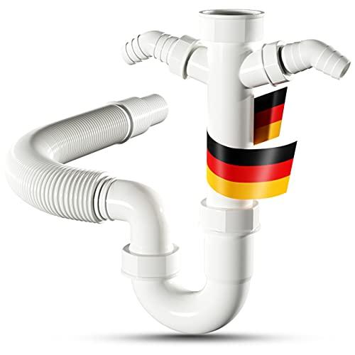 LOBENSWERK Siphon für Küchenspüle mit flexiblem Ablaufschlauch - 100% Wasserdicht - Röhrensiphon mit zwei Geräteanschlüssen + Anschlussdichtungen