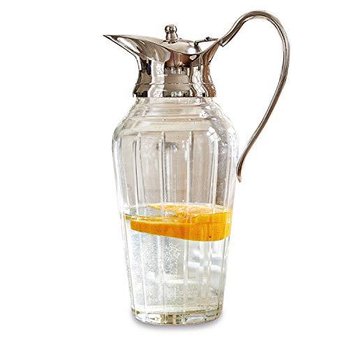 Loberon Krug Braux, Glas, Messing, H ca. 26 cm, Krug: Füllmenge: 1000ml, klar/silber
